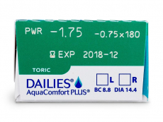 Dailies AquaComfort Plus Toric (30leč) - Predogled lastnosti