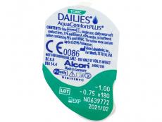 Dailies AquaComfort Plus Toric (90leč) - Predogled blister embalaže