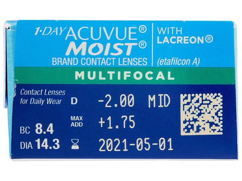 1 Day Acuvue Moist Multifocal (30 leč) - Predogled lastnosti