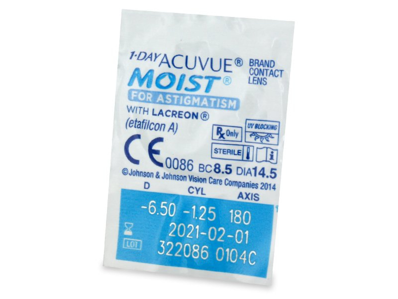 1 Day Acuvue Moist for Astigmatism (30 leč) - Predogled blister embalaže